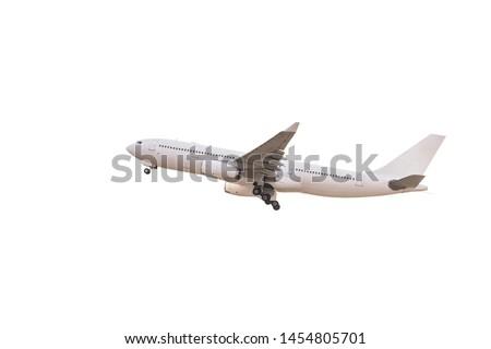 White passenger plane taking off Stok fotoğraf ©