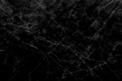 White pattern detailed in black marble texture, abstract background