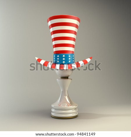 white Pawn in a  TOP hat of usa High resolution 3D