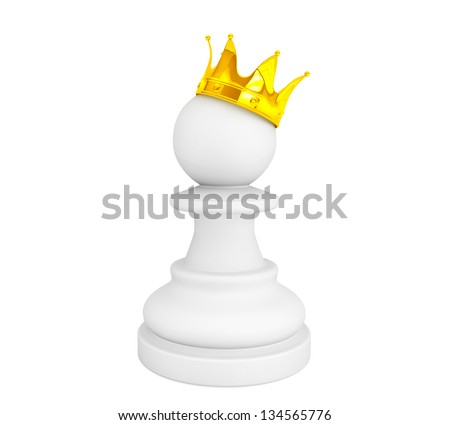 White pawn with a golden crown on a white background