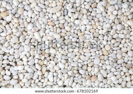 White pebble stone texture on the ground.