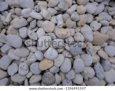 White pebbles stone texture,stone background, white stone wall texture, stone floor texture in the garden, white stone wall background in the park