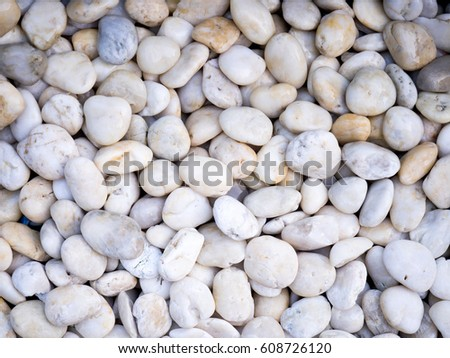 White pebbles texture and background, Decorative stone