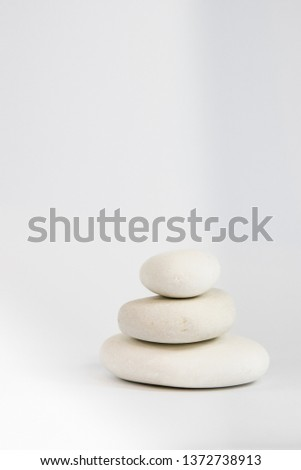 white pebbles with white background