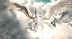 white Pegasus flying in sky
