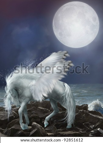 white pegasus in the stones with waves