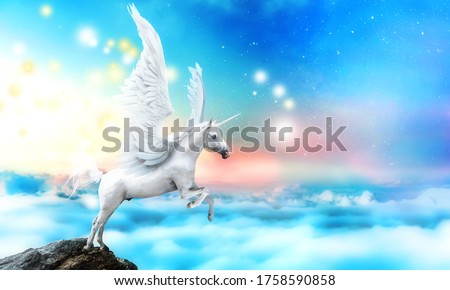 White pegasus unicorn in a cliff high above the clouds