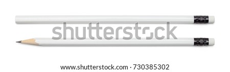 White Pencil with Copy Space Isolated on a White Background. - Shutterstock ID 730385302