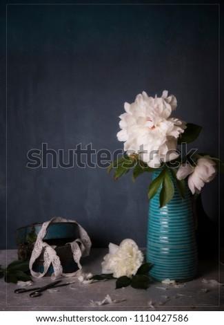 white peony and blue vase #1110427586