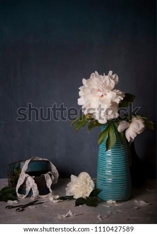 white peony and blue vase #1110427589