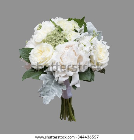 white peony and garden rose bridal bouquet isolated on grey background