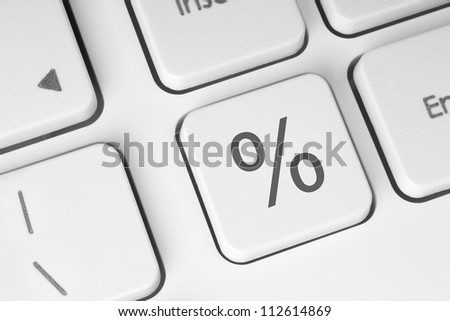 White percent keyboard button close-up