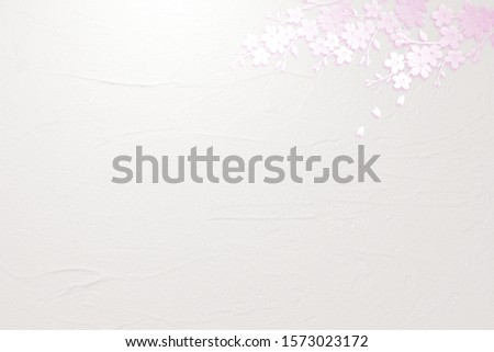 White petals background with cherry petals
