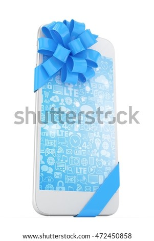 White phone with blue bow and blue screen. 3D rendering.