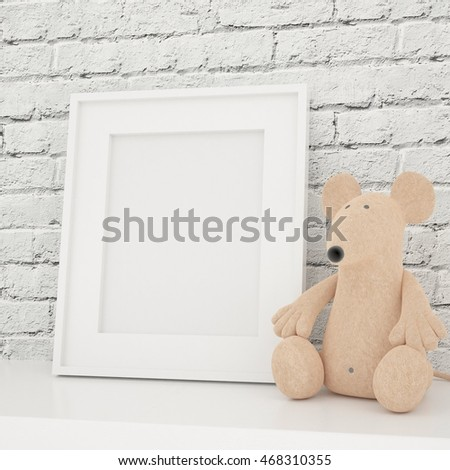 White Photo Frame Mock Up in Children Room, Vintage white wooden picture frame and Toys on a white table. Creative room full of toys, Mock Up Background, White Bricks Wall Background, Kids
