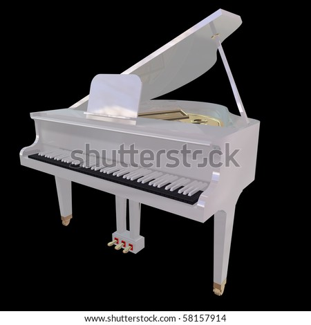 White piano isolated on a black background