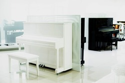 White piano with blurry black piano in musical showroom at musical instrument store.