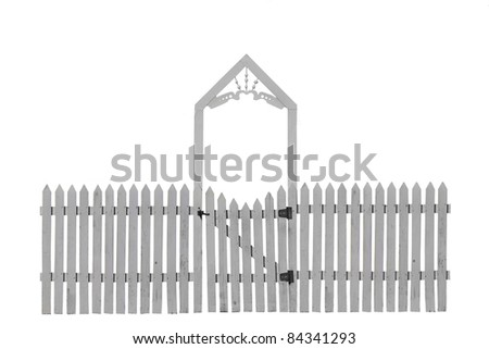 White Picket Fence with Decorative Gate