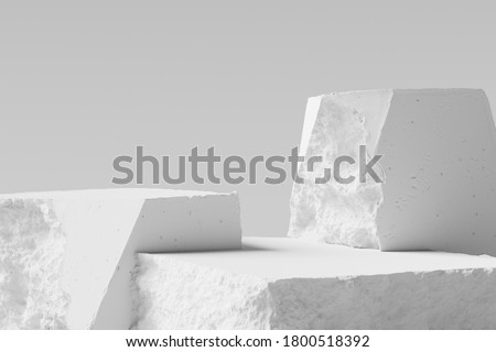 White pieces of Stone wall with broken textured edges, debris stone slabs for product display background. 3d  rendering. Foto stock ©