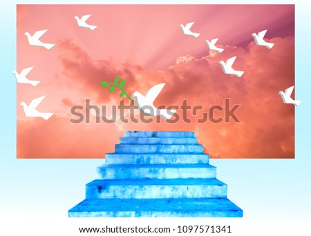Stock Photo white pigeon fly with green olive   to find stairway to heaven and peace in colorful cloudy surrealism atmosphere