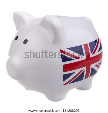 White piggy bank with union jack flag its side,  isolated on white.