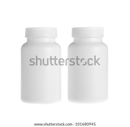 white pill bottle on white background