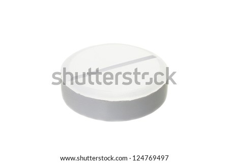 White pill of classic round shape isolated on white background