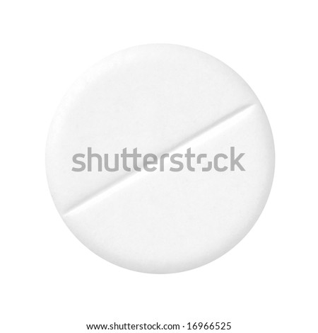White pill on a white background (isolated with path).