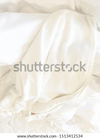 White Pillow On Bed And With Wrinkle Messy Blanket In Bedroom, From Sleeping In A Long Night Winter.