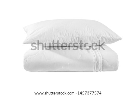 White pillow on the folded duvet or blanket isolated. Stack of bedding on the white background. Bedding items catalog illustration.  #1457377574