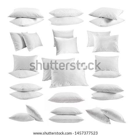 White pillows different views big set. Pillows isolated. Collection of various pillows on white background. Close up photo, mock up.