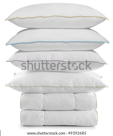 White pillows on duvet. Isolated