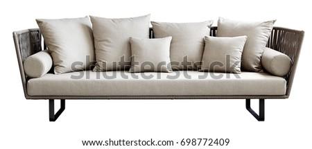 White pillows on sofa isolated. #698772409