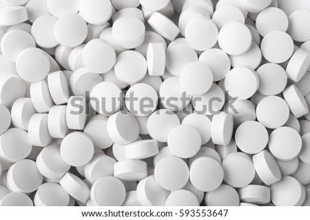 White pills close up