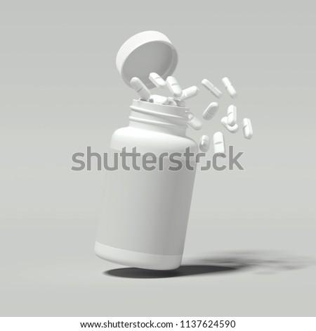 White pills spilling out of white bottle on light gray background, 3d rendering.