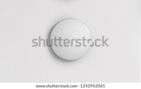 White pin button. Pin button set. Collection of realistic pin buttons. White blank badge pin brooch isolated on white background
