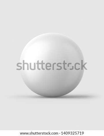 White ping pong ball on a light grey background. 3d render. Front view. Isolated Objects Series.