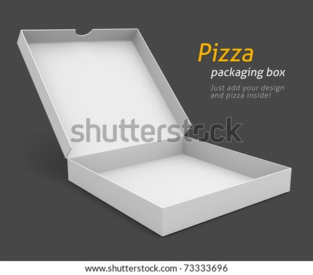 white pizza packaging box with blank cover for design 3d illustration isolated on grey background - stock photo