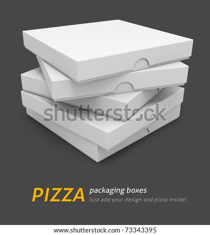 white pizza packaging boxes with blank cover for design 3d illustration isolated on grey background