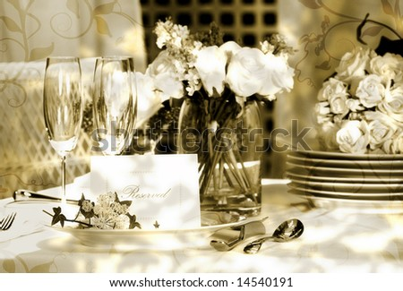 White place card on outdoor wedding table/ Vintage look