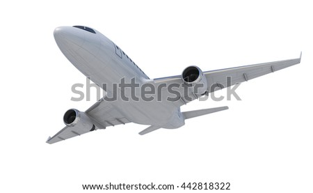 White Plane, White Airplane Isolated On White Background, Plane  3d Model, Plane Concept  - 3d Rendering,Two-engine Airplane