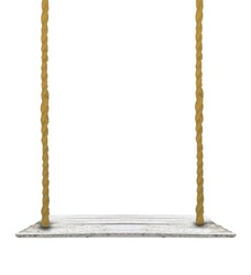 White plank swing with old rope isolated white background