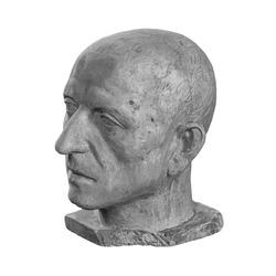 White plaster bust sculpture portrait of a man