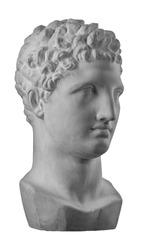 White plaster bust sculpture portrait of the men Hermes.
