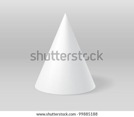 White plaster cone on grey scene - stock photo