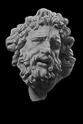White plaster portrait sculpture of Laocoon
