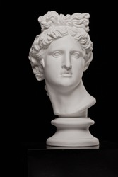 White plaster statue of a bust of Apollo Belvedere on a black background