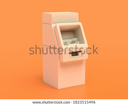 white plastic Automated Teller Machine or ATM machine in yellow orange background, flat colors, single color banking machine, 3d rendering, public banking machine