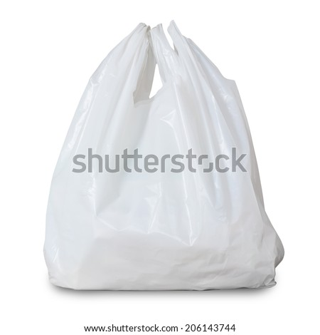 White Plastic Bag Isolated On White Background