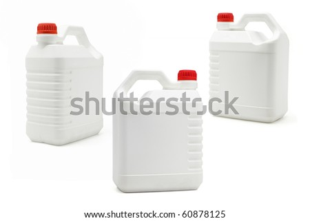 White plastic blank containers on isolated background